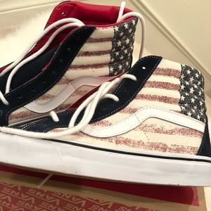 Vans Shoes - Only Today! NWT Vans suede American flag sk8-hi W8 d9b6dd807a